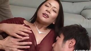 Rei Kitajima, Asian milf, fucked by two males