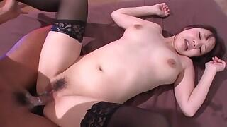 Cute Arisa Araki moaning as she takes a huge cock